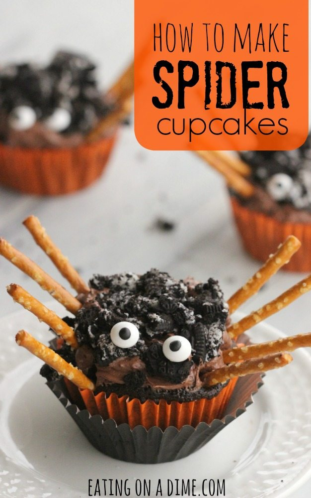 This Easy Spider Cupcake recipe is great for Halloween for kids. The entire family will love making these easy spider cupcakes made with a chocolate cake mix, Oreos and with pretzel legs for decorations. Learn how to make these Simple DIY Halloween Oreo cupcakes with pretzels. These cupcakes are not spooky or scary but are the perfect Itsy Bitsy Cute Halloween treat! #eatingonadime #halloweendesserts #halloweencupcakes #spidercupcakes