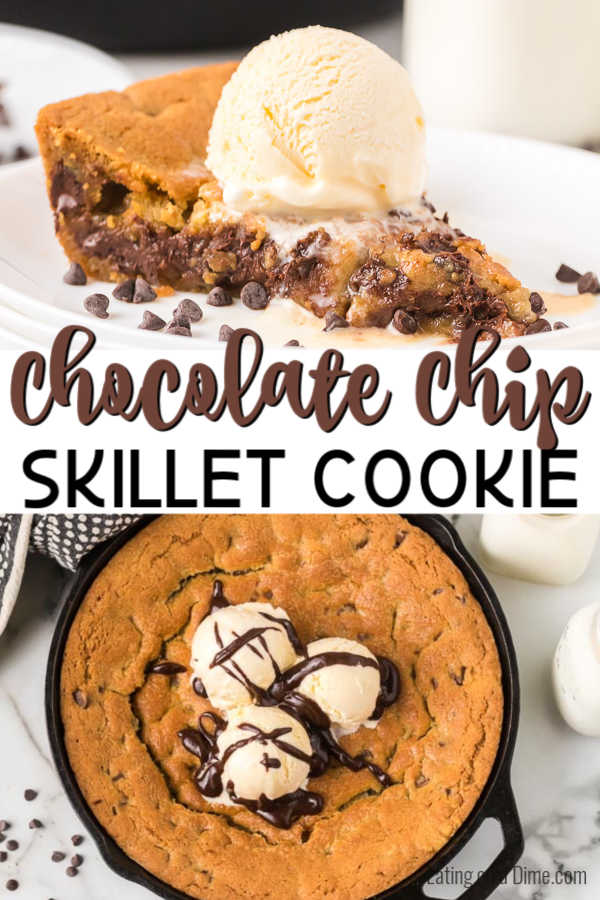 Skillet chocolate chip cookie recipe melts in your mouth with ooey gooey decadent chocolate. Top with vanilla ice cream for a delicious treat.