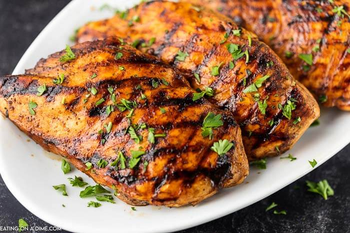 Balsamic glazed chicken is the perfect blend of tangy and sweet while being so easy. We love to grill the chicken but it can also be baked.