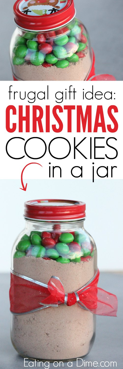 Make this Christmas cookies in a jarrecipe for a homemade gift idea. Everyone will love this m&m cookie in a jar recipe that is an adorable decoration as well. It is quick and easy to make this DIY jar recipe to give as a gift so that they can make baked cookies in no time at all. #eatingonadime #jarrecipes #christmascookies