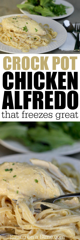 freezer friendly crock pot chicken alfredo