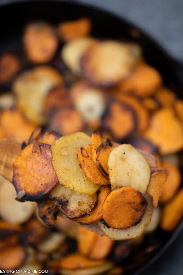 pan fried potatoes and sweet potatoes