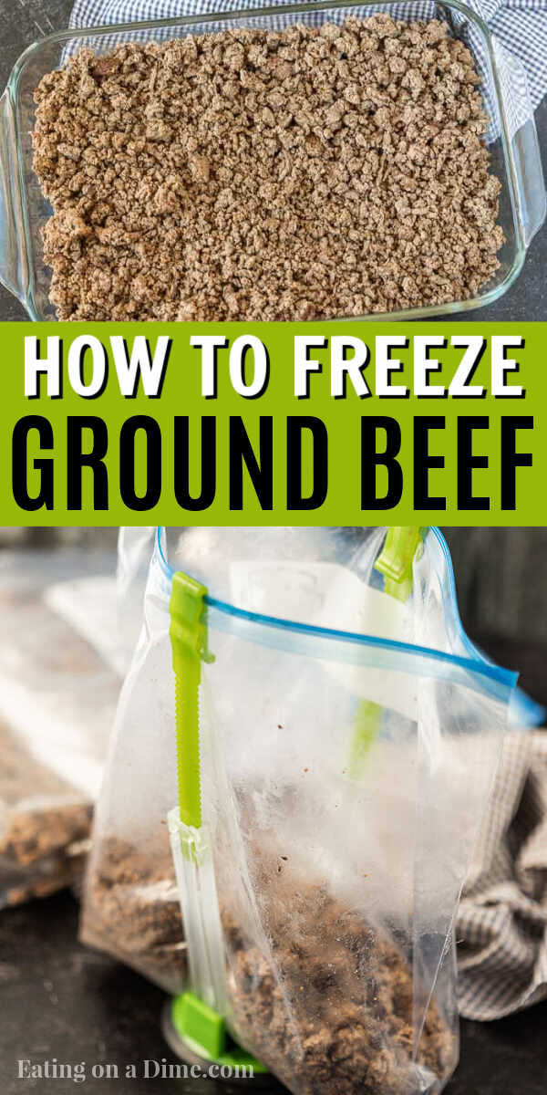 Learn how to freeze Ground beef after you brown it.  Also learn how to freeze cooked ground beef to save you money and time in the kitchen! Check out the best way to freeze hamburger.  Plus how long can you freeze ground beef.  You will love all these tips and tricks for freezer ground beef.  #eatingonadime #groundbeef #freezertips