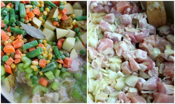 double crust chicken pot pie chop up