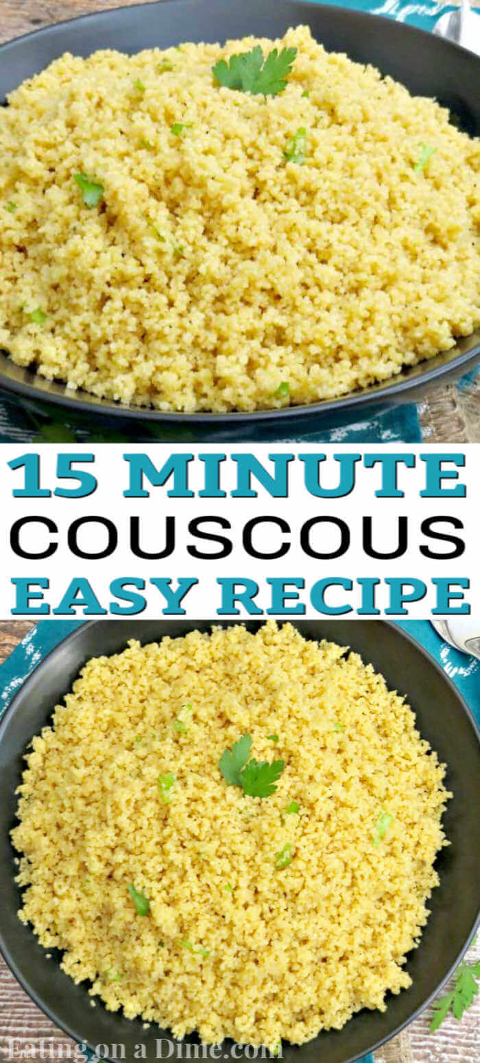 Learn how to make couscous recipe.  You have to try this easy, healthy parmesan couscous recipe for your next dinner. Your family will love couscous and it's the perfect side dish for your next dinner.  #eatingonadime #couscous #sidedishrecipes