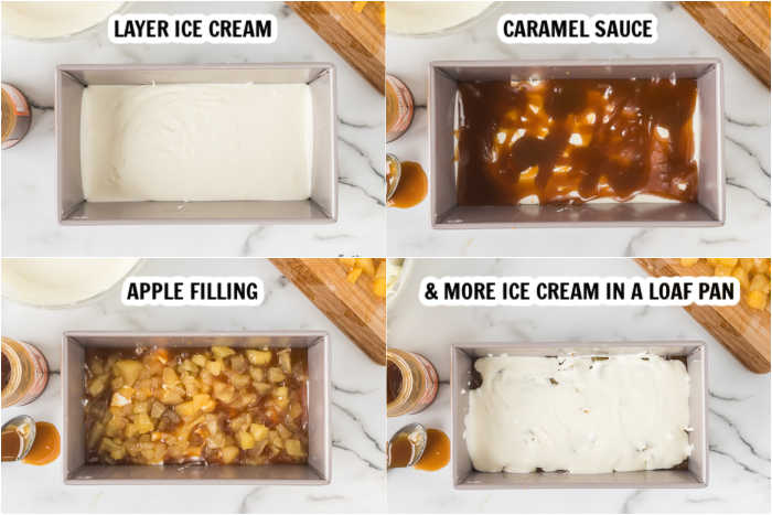 steps to making no churn caramel apple ice cream