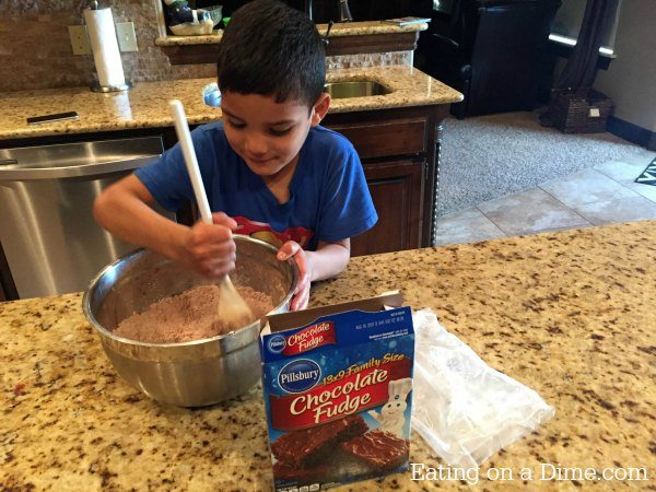 double chocolate brownies - mixing together