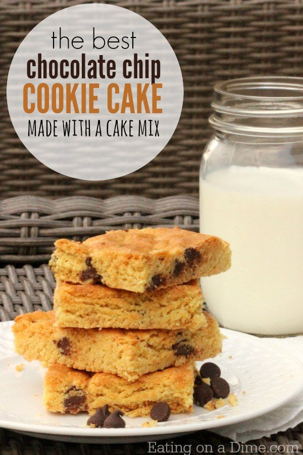 How to make Cookie cake with Cake mix - Eating on a Dime