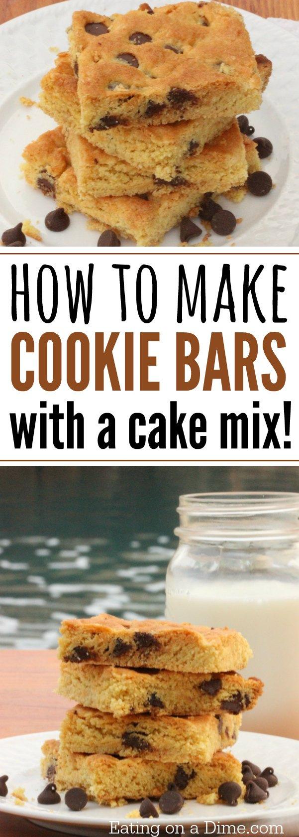 How to make Cookie cake with Cake mix - the best Chocolate Chip cookie Cake recipe that you can make with a cake mix. My favorite of cake mix recipes.