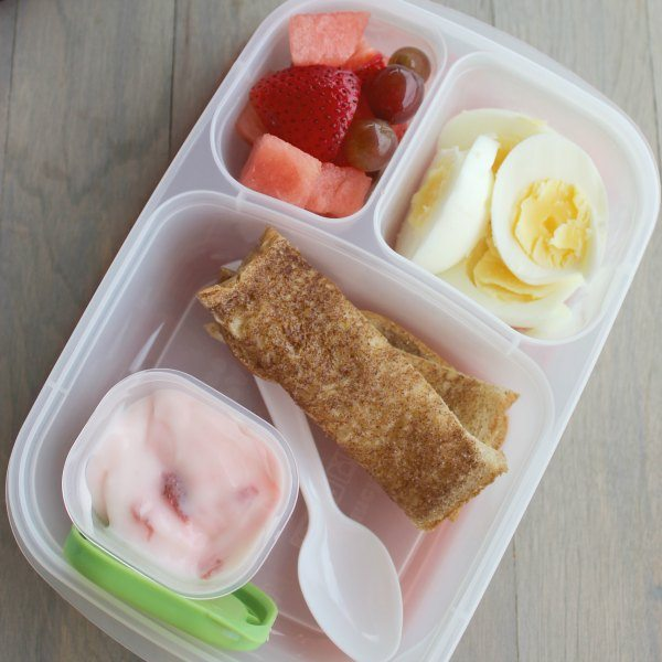 Hard Boiled Egg Lunch with yogurt and cinnamon sticks with fresh fruit