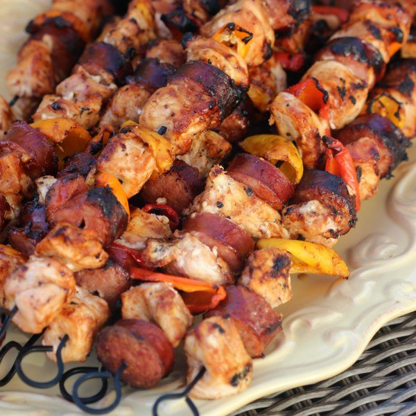 Easy Grilled Chicken Kabob Recipe. Only 2 ingredients needed for this marinade for grilled chicken kabobs.This is the best grilled BBQ Chicken Kabob recipe.