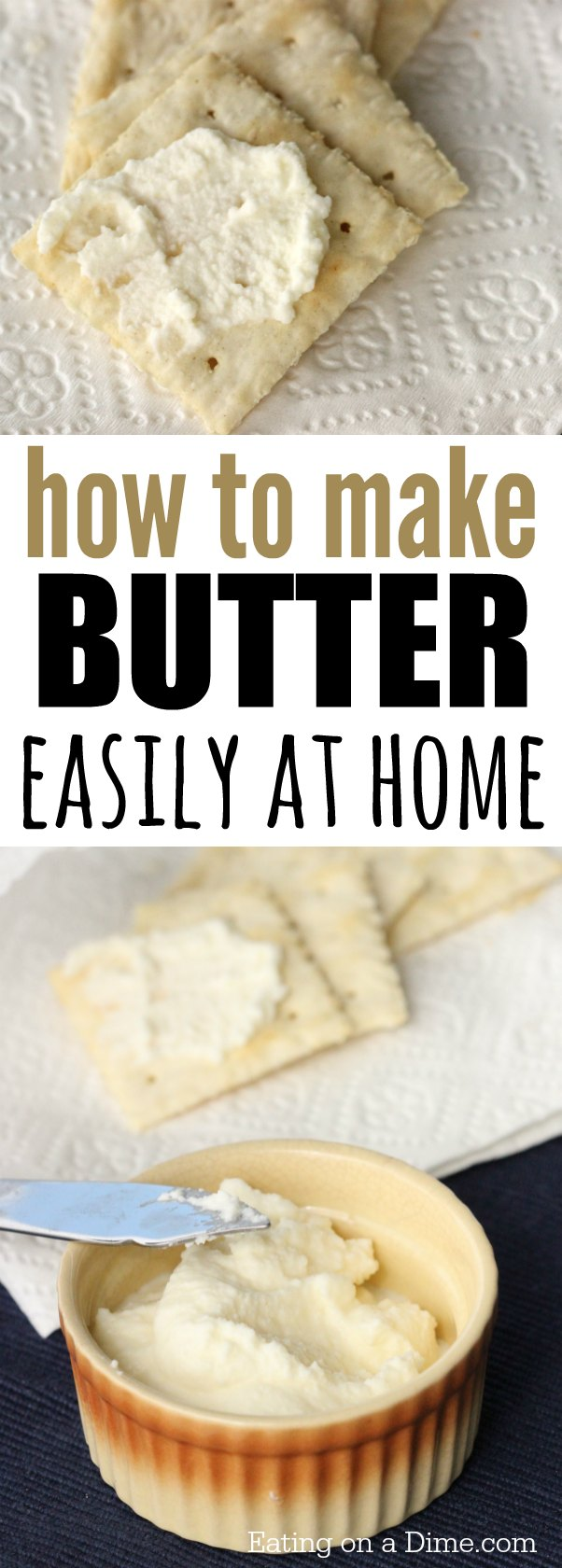 Homemade butter recipe. How to make butter with heavy whipping cream that tastes great. Making butter at home is super easy.