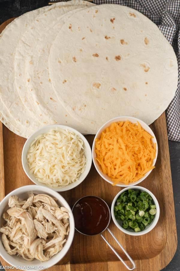 photo of ingredients- tortillas, chicken, cheese, bbq sauce, onion