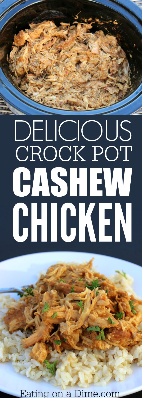 Need easy crock pot recipes? Make this slow cooker cashew chicken. It is packed with flavor and is an easy dinner idea. Make this chicken cashew recipe.
