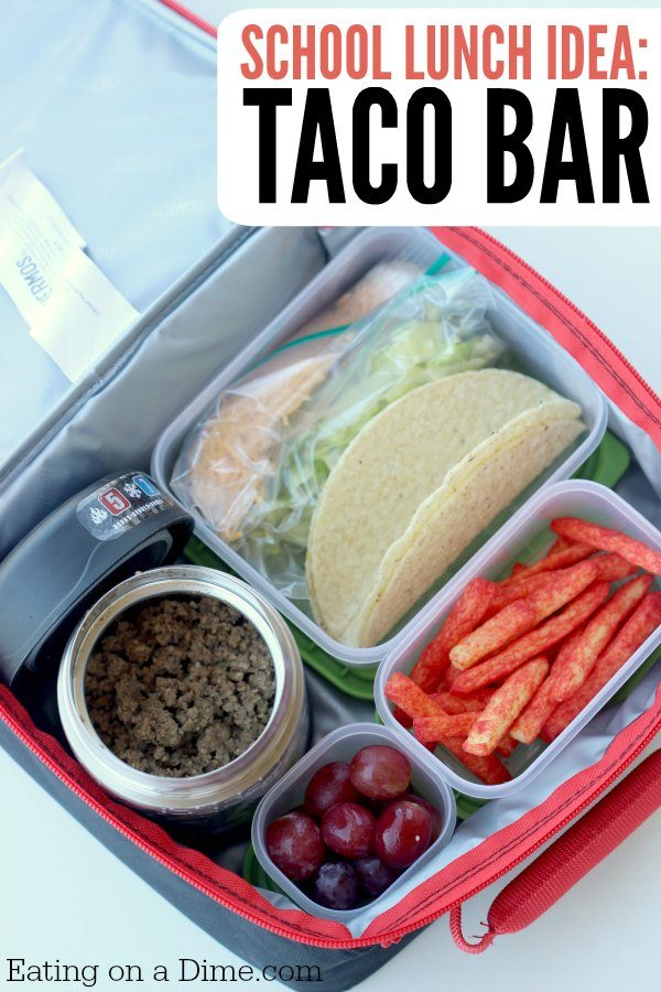 Close up image of taco bar in a lunch box.