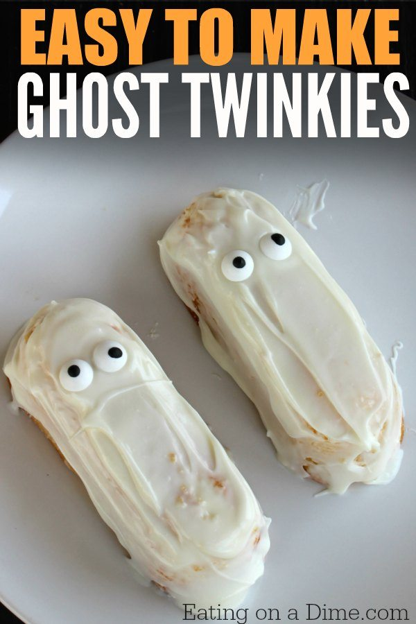 Easy halloween treat for kids ghost twinkies eating on for Halloween treats to make with kids