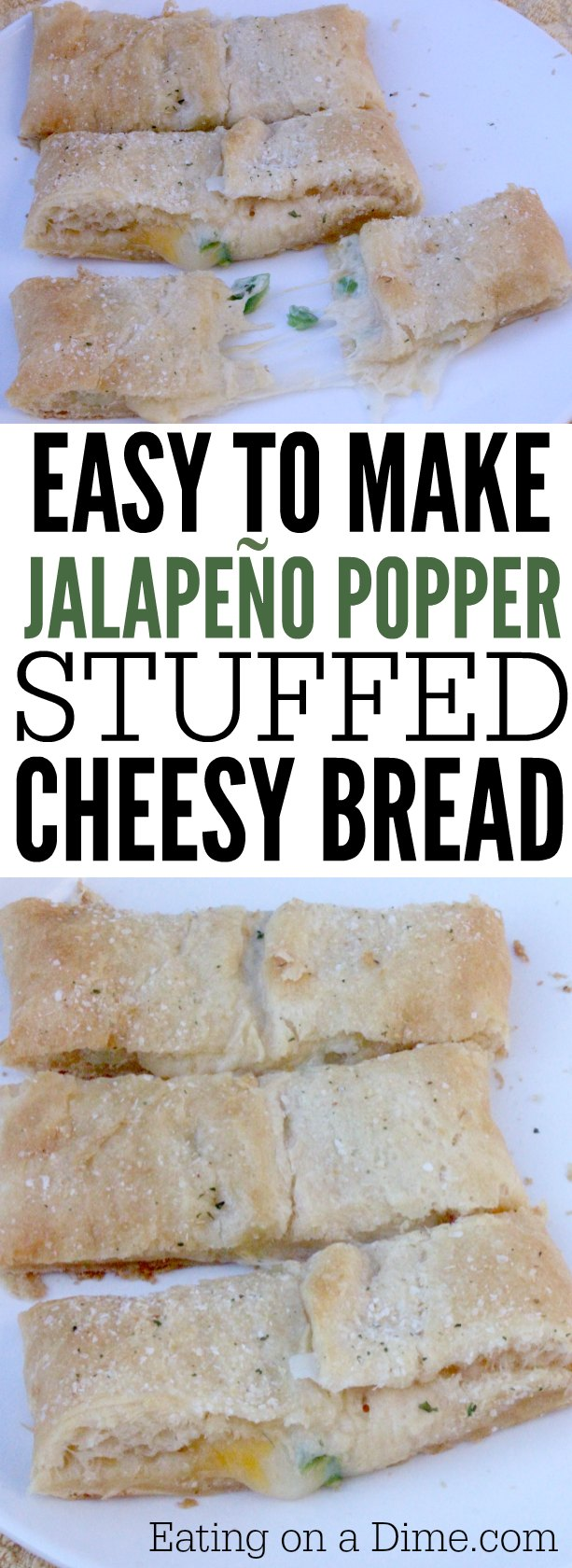 Need an easy bread recipe? This Jalapeño Popper Stuffed Cheesy bread recipe is easy to make and tastes great. Cheesy bread stuffed with Jalapeños.