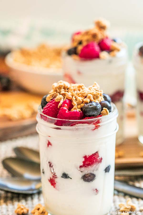 Easy Fruit and Yogurt Parfait topped with granola
