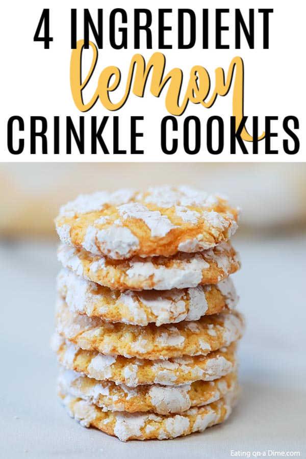 Lemon Cake Mix Cookies - Lemon Crinkle Cookies