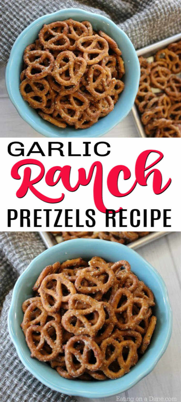 You'll love this Ranch Pretzel recipe. This quick recipe only requires 4 ingredients to make delicious snack mixes. You can also make spicy ranch pretzels in the oven with olive oils with this simple & easy recipe! #eatingonadime #snackrecipes #ranchpretzels