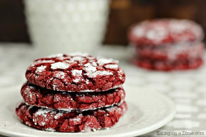 This Red Velvet Cookies Recipe is easy to make because you only need 4 ingredients. Easy Red velvet crinkle cookies are the best cake mix cookies!