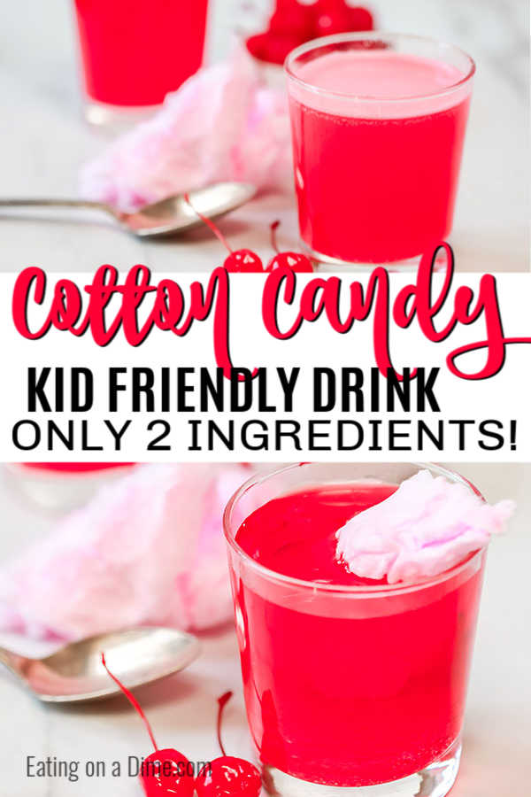 Try this easy kid friendly cotton candy drink recipe. You only need 2 ingredients to make this yummy cotton candy drink recipe for kids.