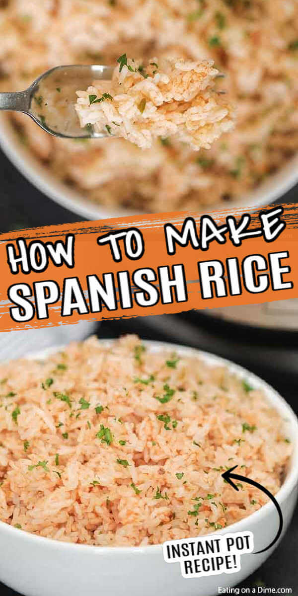 Instant Pot Spanish Rice recipe takes just minutes and makes the perfect side dish for enchiladas, tacos and more. The flavor is amazing!.#eatingonadime #instantpotrecipes #spanishrice #sidedishrecipe #easyrecipes
