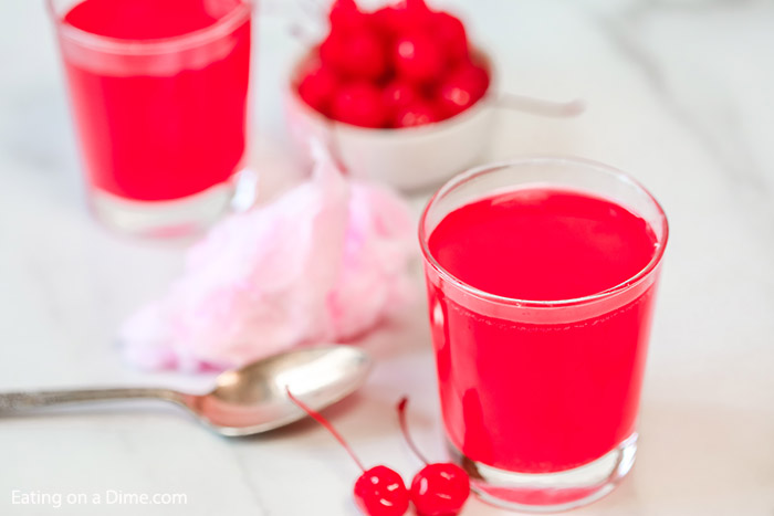 Try this easy kid friendly cotton candy drink recipe. You only need 2 ingredients to make this yummy cotton candy drink punch for kids and adults.