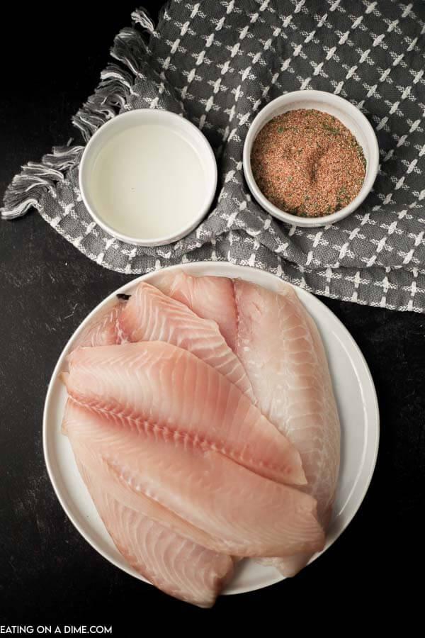 Ingredients to make Blackened Tilapia: Tilapia, Vegetable Oil and Blackened Seasoning