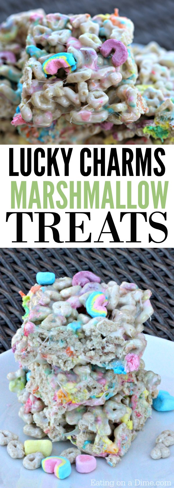 Kid Friendly St. Patrick's Day Treat - Lucky Charms Marshmallow Treats Recipe - This is a quick and easy treat using the favorite Lucky Charms Cereal.