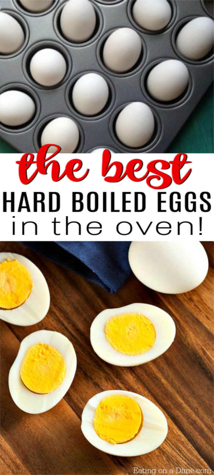 How to make hard boiled eggs in the oven quickly. Baked hard boiled eggs is easy to make and perfect for a huge party or Easter. All you need for this recipe is eggs, a muffin tin and water. You'll never make ovens on the stovetop again! #eatingonadime #hardboiledeggs #bakedeggs