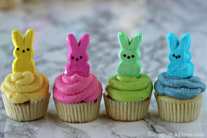 These Peeps Cupcakes are adorable. Easy Easter Cupcakes to make in minutes. Peeps cupcakes are now our favorite Easter Dessert Recipe.