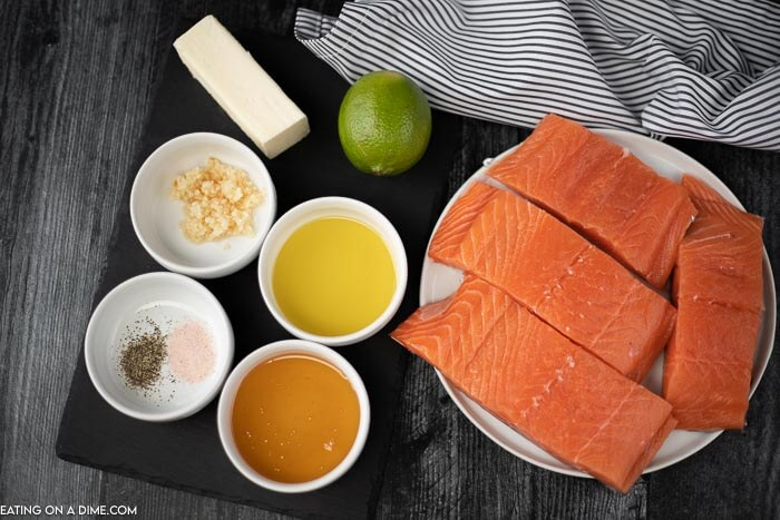 Ingredients to make this recipe: Salmon, oil, honey, salt, pepper, butter, minced garlic and lime juice