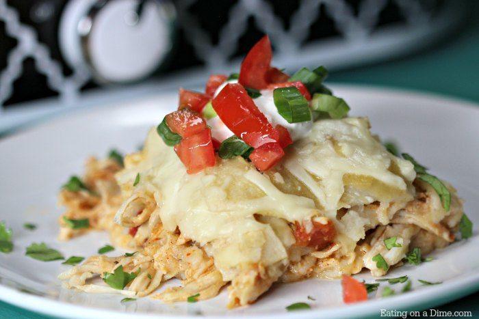 Crock Pot Chicken Enchilada Casserole Quick And Easy Mexican Recipe