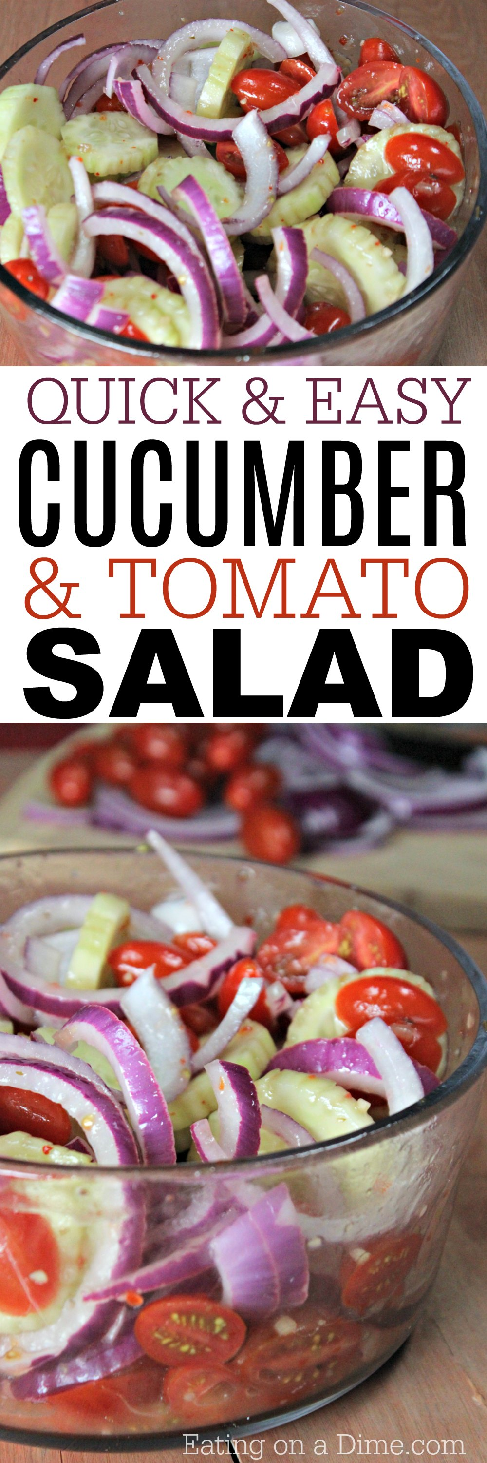 You are going to love this Cucumber Tomato Salad recipe. This quick and easy cucumber tomato onion salad recipe is perfect for a Summer salad recipe.