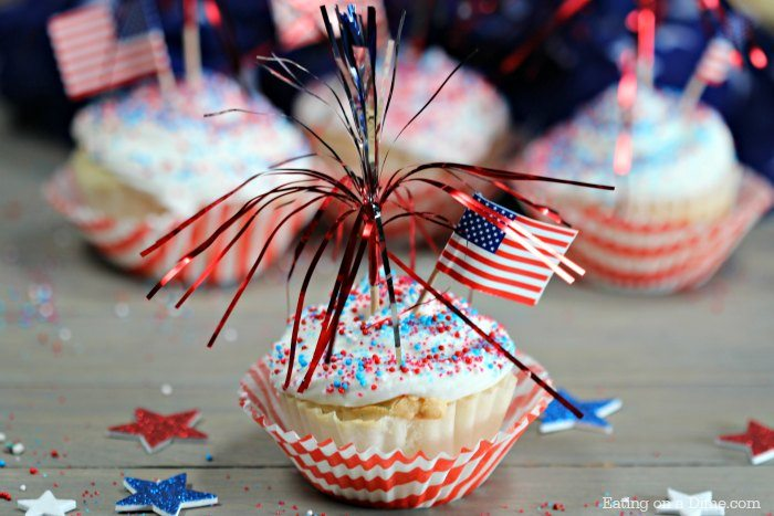 These quick and Easy 4th of July Cupcakes are so fun! These firecracker cupcakes have a surprise of sprinkles in the middle! They're perfect for parties!
