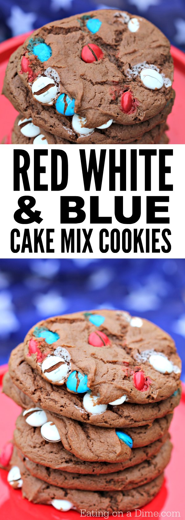 You only need 5 ingredients to make this delicious 4th of July Cake mix Cookies Recipe. These cake mix cookies are the best 4th of July desserts.