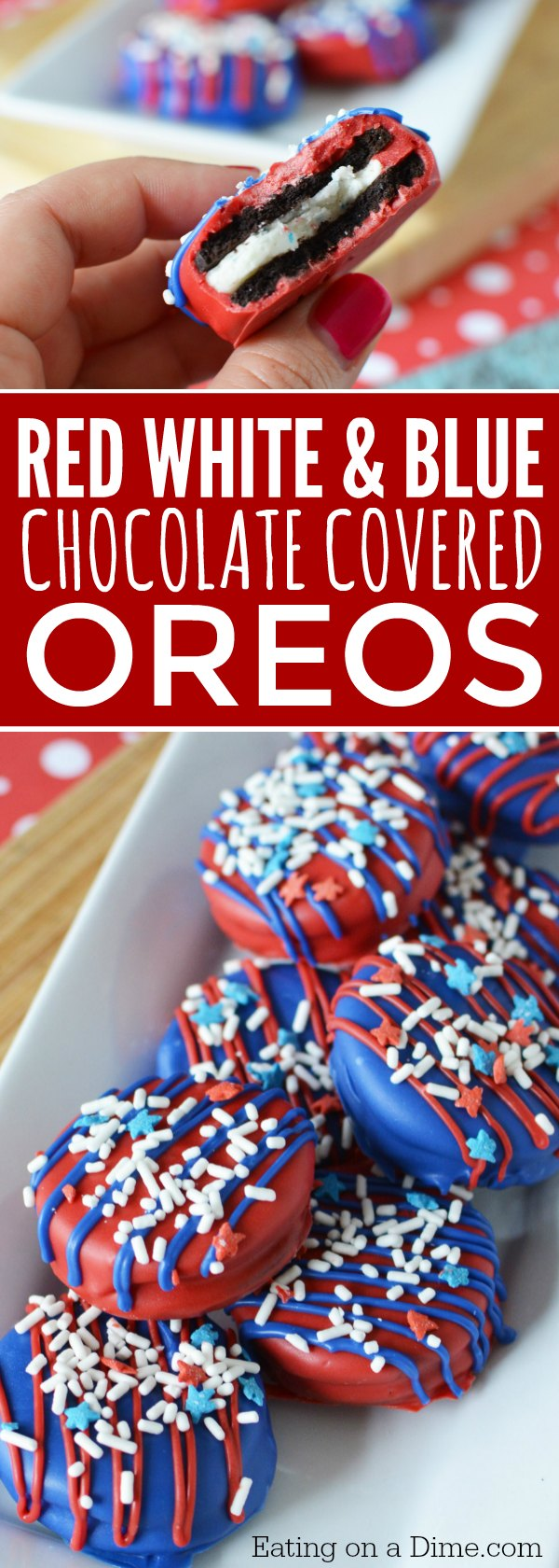 These 4th of July Chocolate Covered Oreos are delicious and so easy to make. It is one of our favorite easy 4th of July Desserts! Make these Red white and blue chocolate covered oreos today! It will be one of your favorite Quick and easy Fourth of July Desserts!