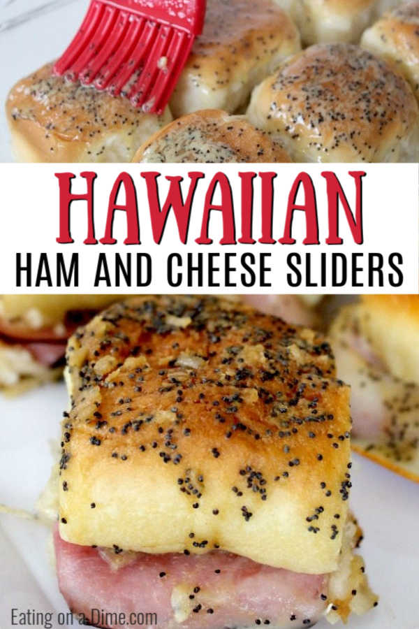 These Hawaiian ham and cheese sliders recipe are easy to make. They are the best Ham and cheese sliders! You'll love these Kings Hawaiian Ham and Cheese Sliders with brown sugar! These are perfect to make ahead to serve at any party or get together! #eatingonadime #hamandcheesesliders #appetizerrecipes