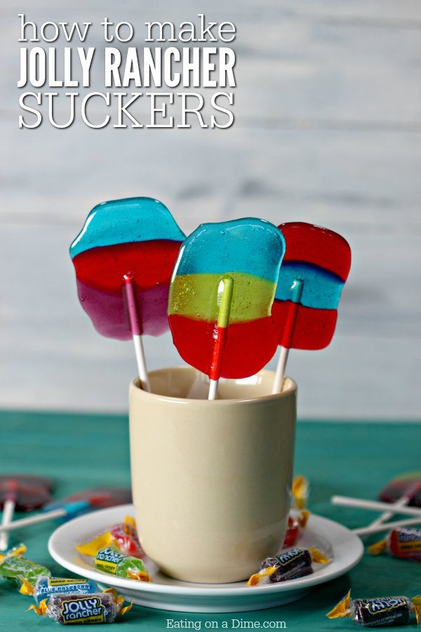 How to make homemade jolly rancher suckers. Kids love making these easy Jolly Rancher Lollipops