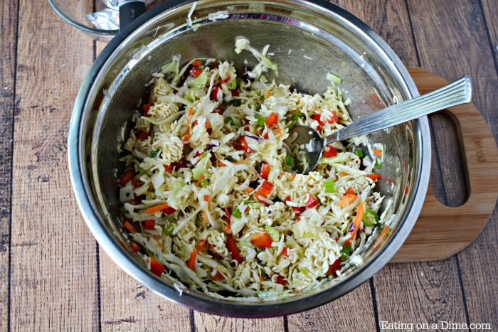 Easy ramen noodle salad recipe comes together quickly for a crispy and flavorful salad. The dressing really brings it all together for a great side dish.