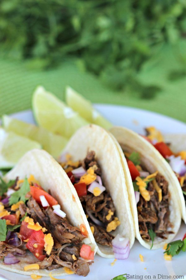 Easy crock pot recipe. Make this Gluten Free Crock pot Mexican Shredded Beef Taco recipe in no time. It is the most amazing shredded beef taco recipe!