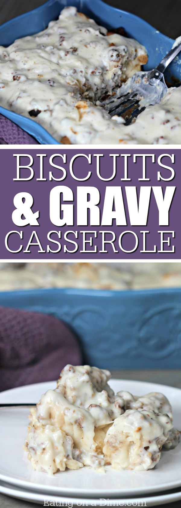 This Biscuits and gravy casserole is delicious! Try this easy gravy biscuit casserole. Kids will love this fun twist on the biscuits and gravy recipe!