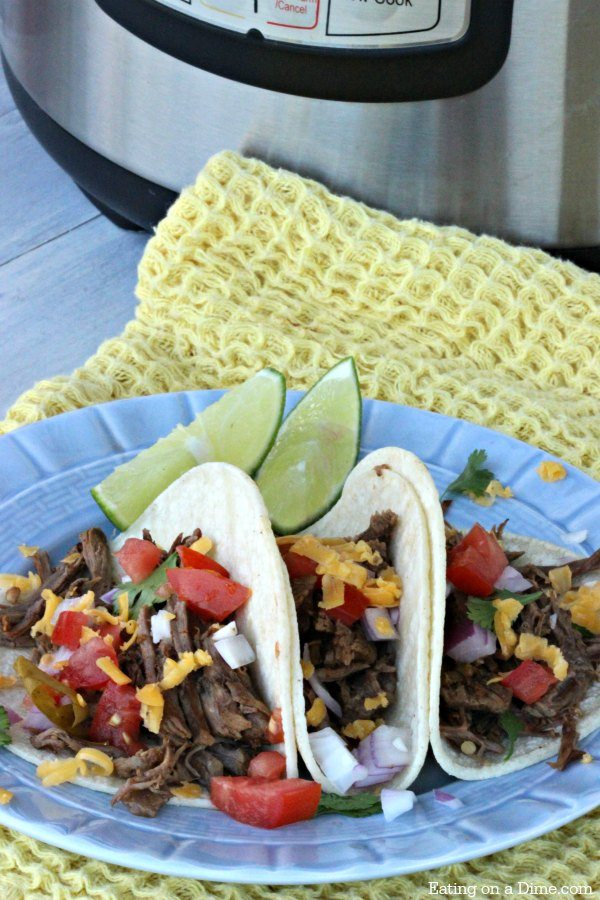 Try this yummy Gluten Free Instant Pot Mexican Shredded Beef Tacos Recipe. Pulled beef tacos are so easy. Shredded Beef Tacos Recipe is a family favorite!