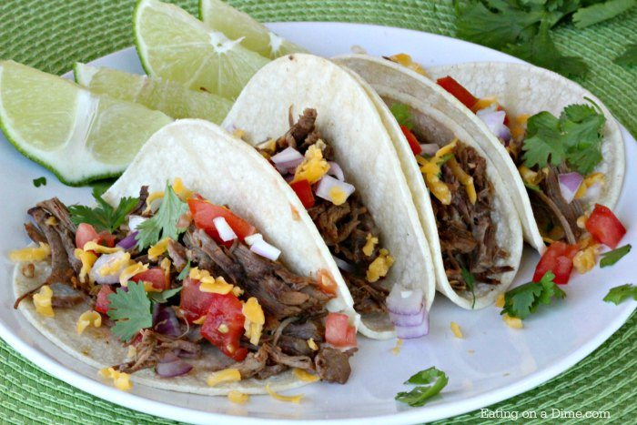 Make this Gluten-Free Crock pot Mexican Shredded Beef Taco recipe with only 5 minute prep time! It is the most amazing shredded beef taco recipe!