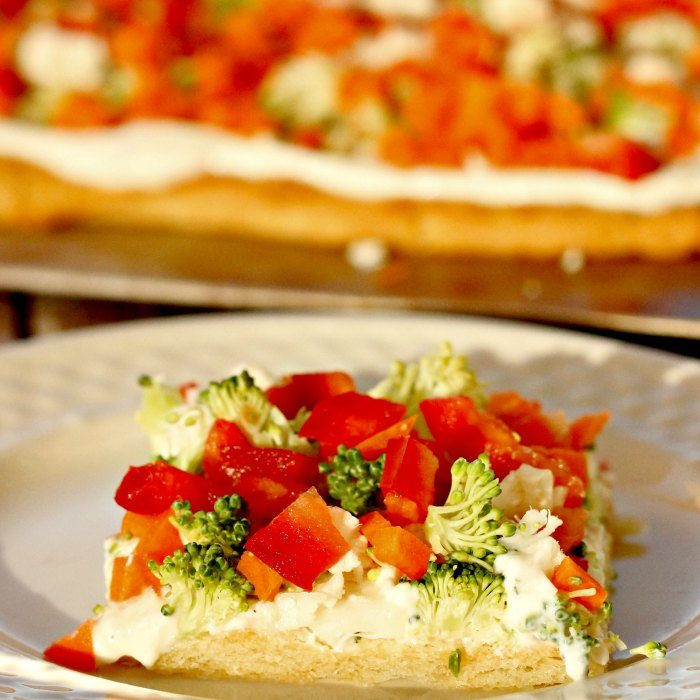 Check out this Crescent Roll Veggie Pizza Appetizer. It's so easy! Even those that do not like veggies, will love this crescent roll pizza appetizer.