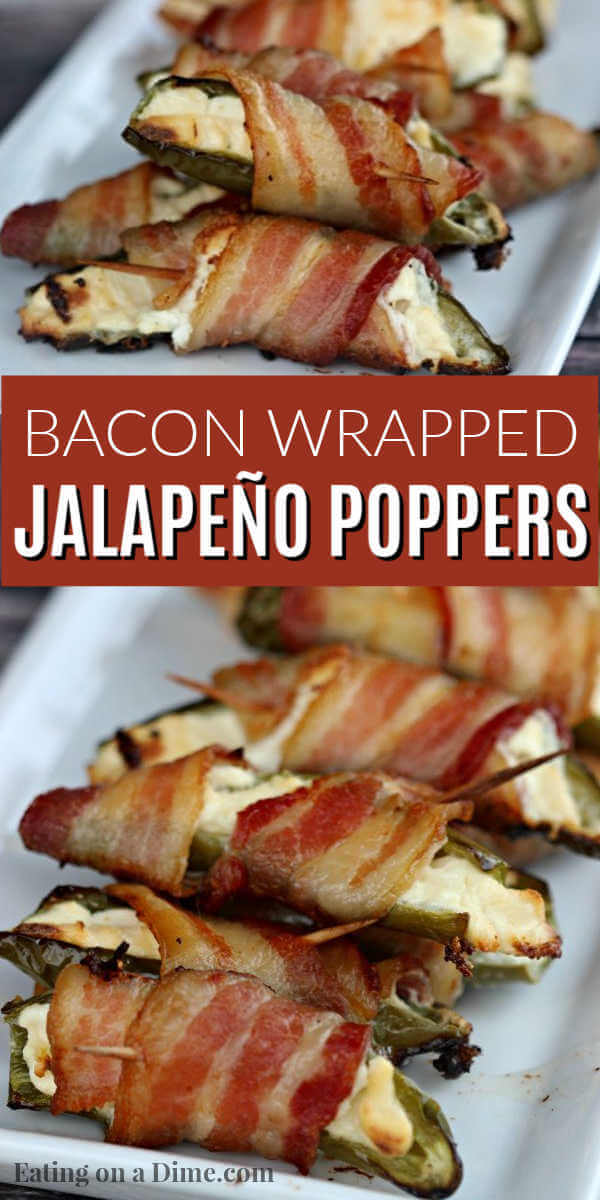 You have to try Bacon wrapped jalapeno poppers with only 3 ingredients, peppers, cream cheese and bacon! These grilled bacon wrapped stuffed jalapeño poppers are easy to make and packed with flavor. Bacon wrapped cream cheese jalapeños are the perfect snack or appetizer for the holidays or any party! The entire family loves these bacon wrapped jalapeño peppers. #eatingonadime #appetizers #jalapeñopoppers #easyappetizers