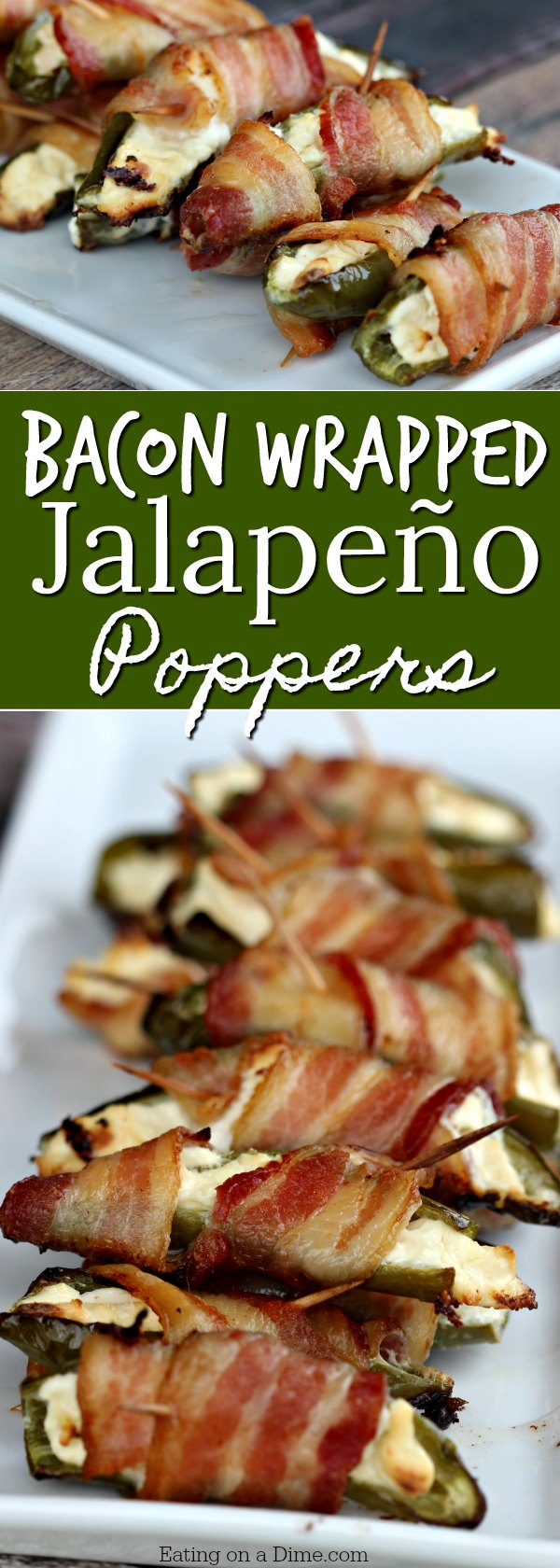 Easy appetizer recipe - This Bacon Wrapped Stuffed Jalapeño Poppers recipe is amazing. Only 3 ingredients to make the best bacon wrapped jalapeño poppers!