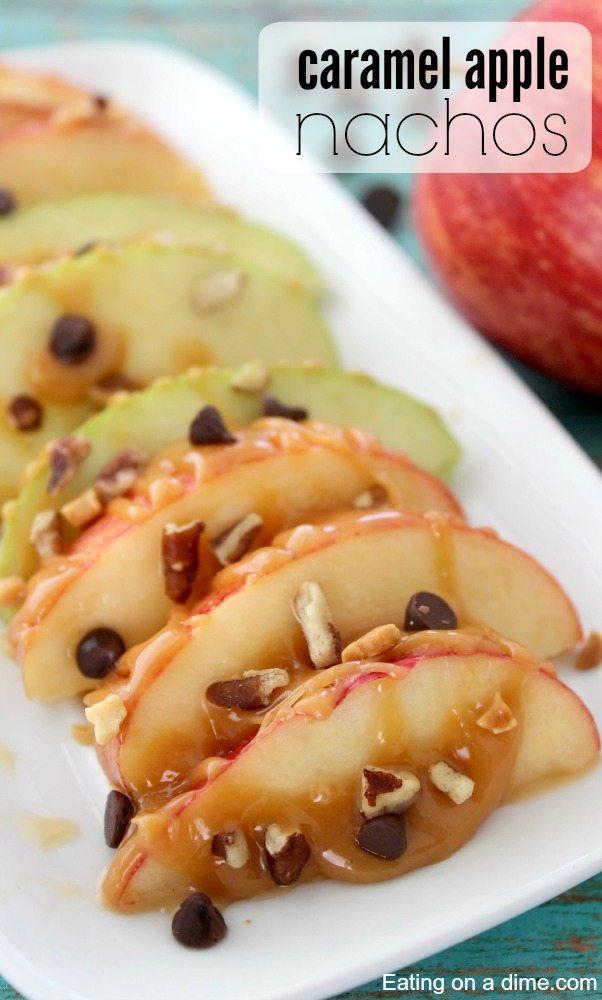 apple nachos on a platter