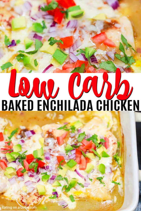 Try this easy low carb recipe, Baked Enchilada Chicken with green enchilada sauce. Enjoy all the flavor of chicken enchilada bake in this low carb version. Try keto baked enchilada chicken today! You won't believe that it's healthy when you taste it! #eatingonadime #ketorecipe